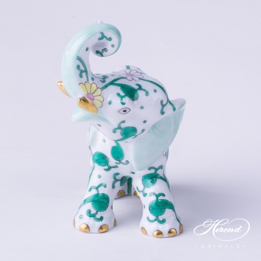 "Elephant 15266-0-00 SBC Special Green Flower decor. Herend fine china hand painted. Herend animal figurine. Height: 8.5 cm (3.4""H)"