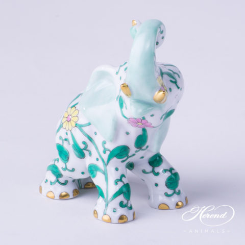 "Elephant 15266-0-00 SBC Special Green Flower decor. Herend fine china hand painted. Herend animal figurine. Height: 8.5 cm (3.5""H)"