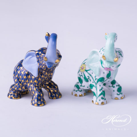 "Elephant Animal Figurines 15266-0-00 VHB-OR and SBC patterns. Herend fine china hand painted. Height: 8.5 cm (3.5""H)."