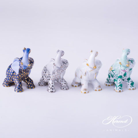 "Elephant Animal Figurines 15266-0-00  VHB-OR - PTVH - AOR - SBC patterns. Herend Fine china hand painted. Height: 8.5 cm (3.5""H)."
