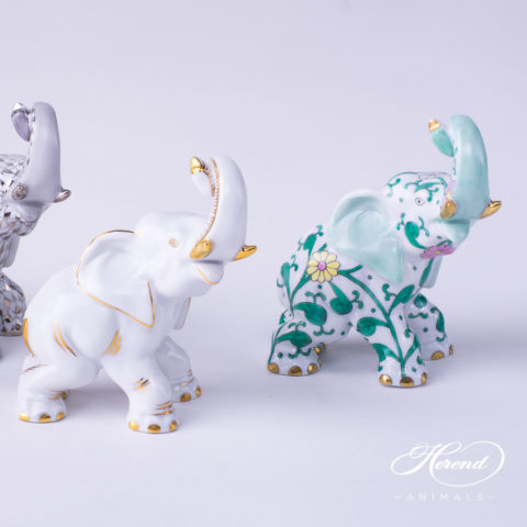 "Elephant Animal Figurines 15266-0-00 PTVH - AOR - SBC patterns. Herend Fine china hand painted. Height: 8.5 cm (3.5""H)"