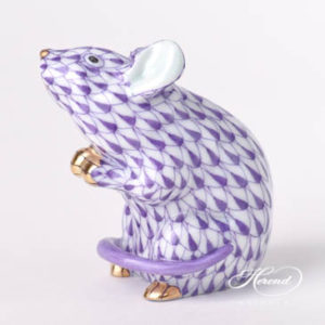"Mouse 15304-0-00 VHL Lilac Fish scale design. Herend fine china animal figurine. Handpainted. Height: 6 cm (2.5""H)."