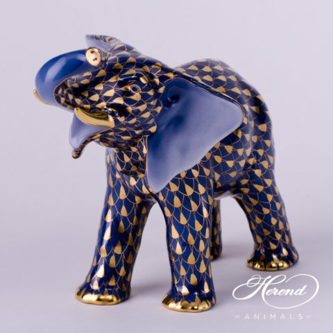 "Elephant 5271-0-00 VHB-OR Navy Blue with Gold Fish scale decor. Herend Fine china animal figurine. Hand painted. Height: 13.5 cm (5.25""H)"