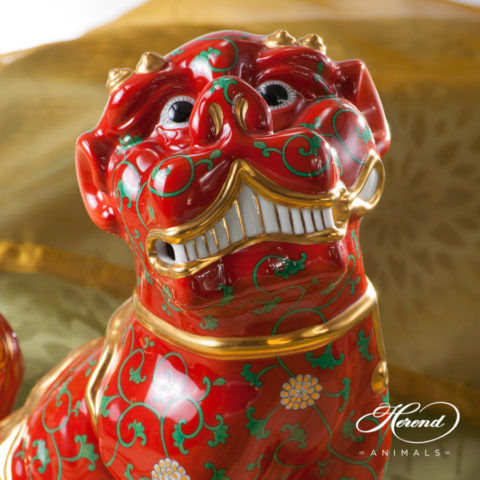 "Fo Dog Big 15295-0-00 G - Godollo Red decor. Herend fine china animal figurine. Hand painted. Height 25.5 cm (10""H)"