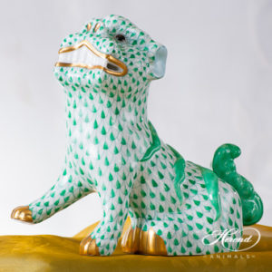 "Foo Dog 5309-0-00 VHV Green Fish scale decor. Herend fine china animal figurine. Hand painted. Height 15.0 cm (6""H)"