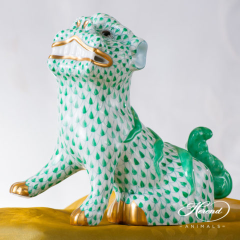 """Foo Dog 5309-0-00 VHV Green Fish scale decor. Herend fine china animal figurine. Hand painted. Height 15.0 cm (6""""H)"""