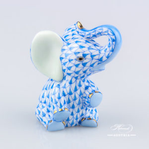 "Baby Elephant 15511-0-00 VHB Blue Fish scale decor. Herend Fine china animal figurine. Hand painted. Height: 7.2 cm (2.75""H)"