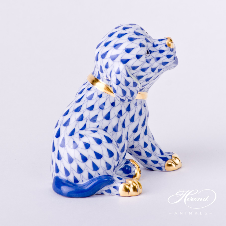 """Dog - Puppy 5219-0-00 VHFB Navy Blue Fish Scale decor. Herend Fine china animal figurine. Hand painted. Height: 5.0 cm (2""""H)"""