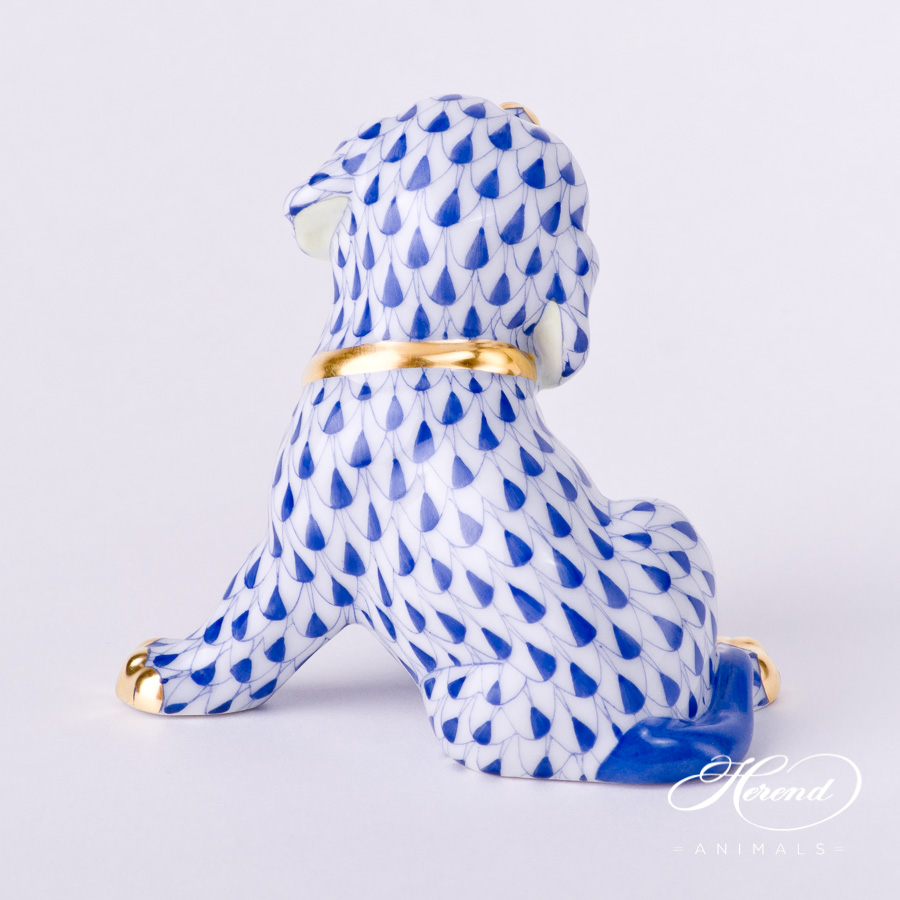 """Dog - Puppy 15872-0-00 VHFB Navy Blue fish scale decor. Herend Fine china animal figurine. Hand painted. Height: 7.0 cm (2.75""""H)"""