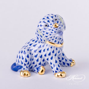 "Dog - Puppy 15872-0-00 VHFB Navy Blue fish scale decor. Herend Fine china animal figurine. Hand painted. Height: 7.0 cm (2.75""H)"
