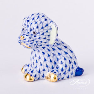 "Dog - Puppy 5219-0-00 VHFB Navy Blue Fish Scale decor. Herend Fine china animal figurine. Hand painted. Height: 5.0 cm (2""H)"