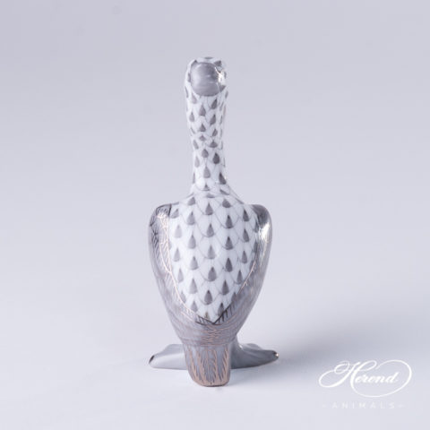 "Pelican 5170-0-00 VHGM-PT Gray fish scale decor with Platinum. Herend Fine china animal figurine. Hand painted. Height: 8.4 cm (3.3""H)"