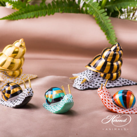 Herend snail figurines painted with VH style.