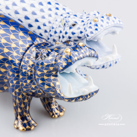 """Hippo 15851-0-00 VHB-OR Navy Blue with Gold and VHFB Navy Blue Fish scale decors. Herend Fine china animal figurines. Hand painted. Length 14.0 cm (5.5""""L)"""