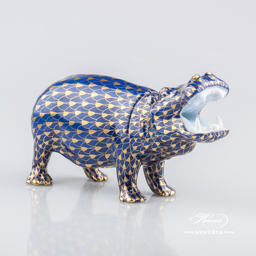 """Hippo 15851-0-00 VHB-OR Navy Blue with Gold Fish scale decor. Herend Fine china animal figurine. Hand painted. Length 14.0 cm (5.5""""L)"""