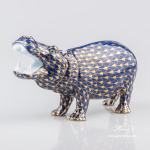 "Hippo 15851-0-00 VHB-OR Navy Blue with Gold Fish scale decor. Herend Fine china animal figurine. Hand painted. Length 14.0 cm (5.5""L)"