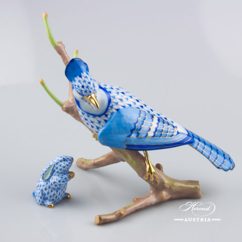 "Blue Jay 15342-0-00 VHSP41 Special Blue Fish scale design. Herend Fine china animal figurine. Limited. Handpainted. Height 18.5 cm (7.25""H)."