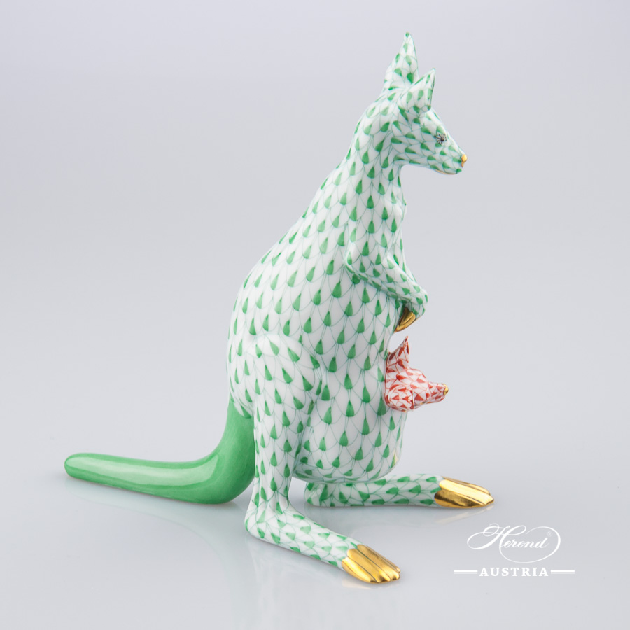 Tiger Cub 15586-0-00 VHV Green Fish scale decor. Herend Fine china animal figurine. Hand painted. Length 6.7 cm
