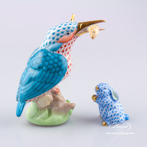 Kingfisher 5168-0-00 VHSP23 Blue - Herend Animal Figurine