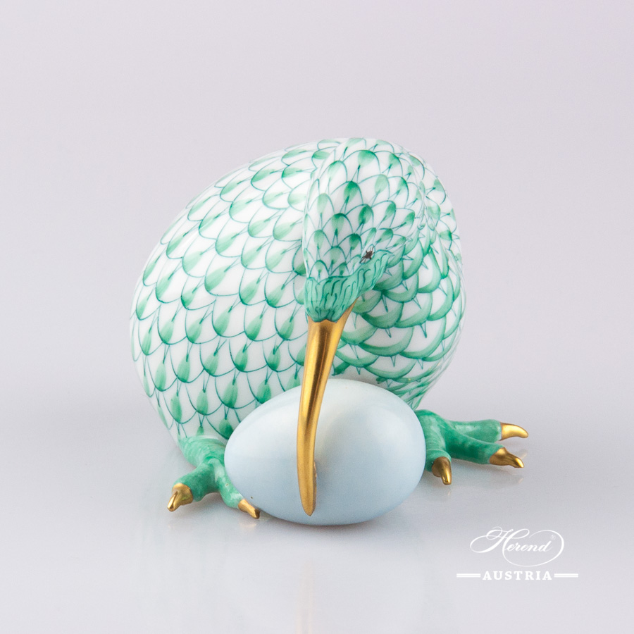 "Kiwi Bird w. Egg 15334-0-00 VHV Green Fish scale decor. Herend Fine china animal figurine. Hand painted. Height: 7.0 cm (2.75""H)"