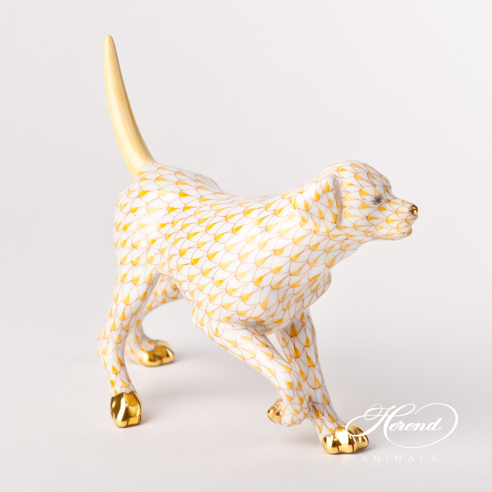 "Labrador 15684-0-00 VHJ Yellow Fish scale design. Herend fine china animal figurine. Hand painted. Length 14 cm (5.5""L)."