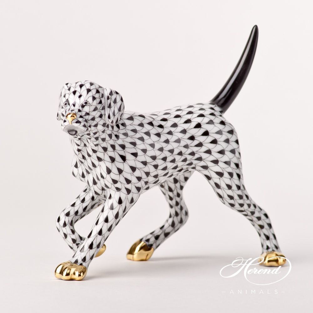 "Labrador15684-0-00 VHNM BlackFish scale design.Herend fine china animal figurine. Hand painted. Length 14 cm (5.5""L)."