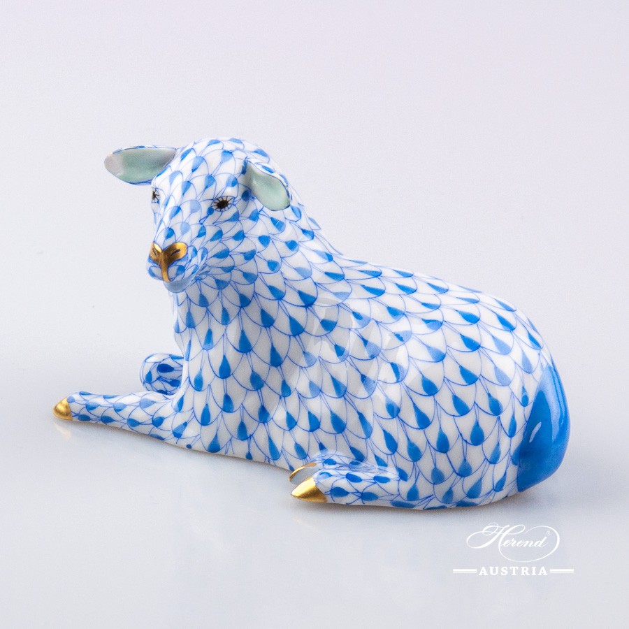 Lamb 15454-0-00 VHB Blue - Herend Animal Figurine
