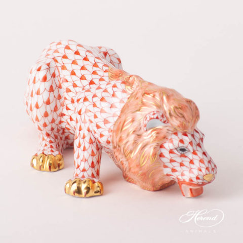 "Lion 15435-0-00 VHR Red Fish Scale design. Herend fine china animal figurine. Handpainted. Length: 15.5 cm (6""L)."