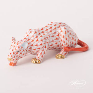 "Lioness / Lion 15434-0-00 VHR Red Fish Scale design. Herend fine china animal figurine. Handpainted. Length: 13.5 cm (5.25""L)."