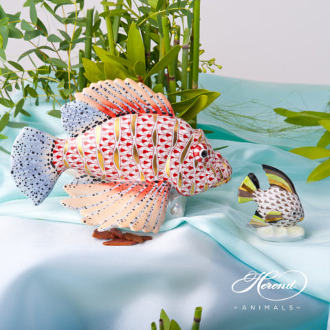 "Fish scale design. Herend fine china animal figurine. Hand painted. Height 14.5 cm (5.75""H)."