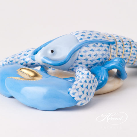 "Lobster 15587-0-00 VHB Blue Fish scale design. Herend fine china animal figurine. Handpainted. Length 18.5 cm (7.25""L)."