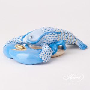 "Lobster 15587-0-00 VHB Blue Fish scale design. Herend fine china animal figurine. Handpainted. Length 18.5 cm (7.25""L)."