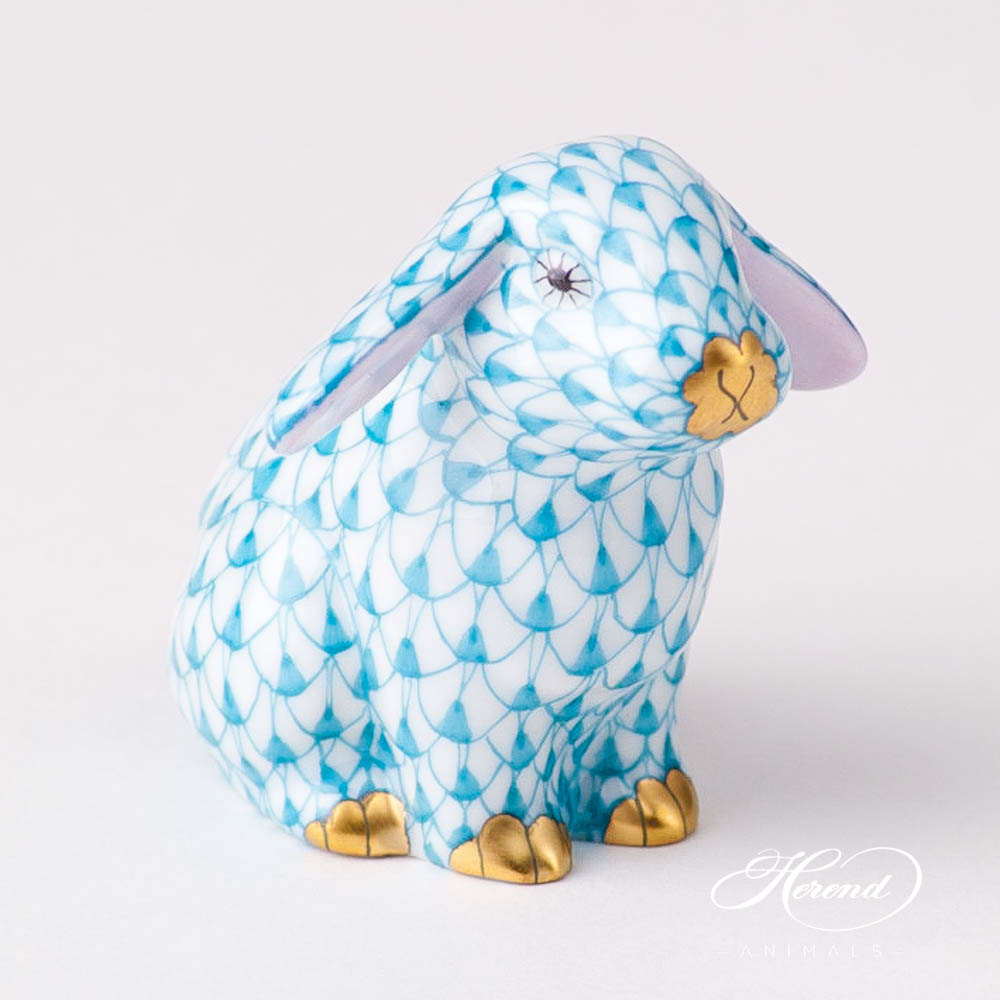 Rabbit/Lop Ear Bunny 15091-0-00 VHTQ Turquoise Fish scaledesign. Herend fine china