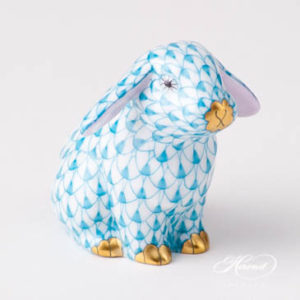 "Rabbit / Lop Ear Bunny 15091-0-00 VHTQ Turquoise Fish scale design. Herend fine china animal figurine. Handpainted. Height: 5 cm (2""H)."