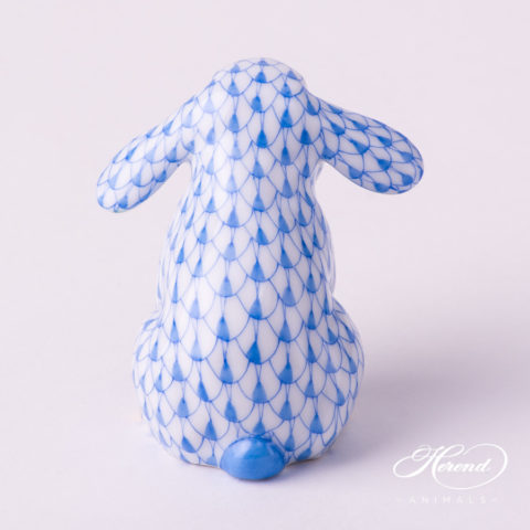 "Rabbit 15091-0-00 VHB Blue Fish scale decor. Lop Ear Bunny. Herend fine china animal figurine. Hand painted. Height: 5.0 cm (2""H)"
