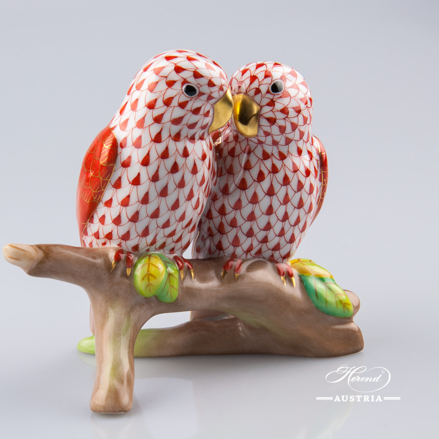 Love Birds 15728-0-00 VHM and C Red - Herend Animal Figurines