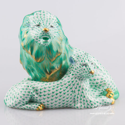 Pair of Lions 5217-0-00 VHV Green - Herend Fine china Animal Figurine