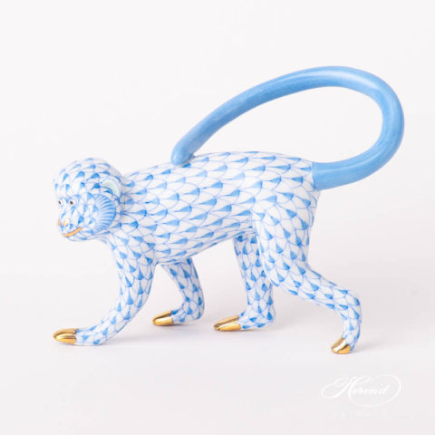 "Monkey 15391-0-00 VHB Blue Fish scale design. Herend fine china animal figurine. Handpainted. Length 12.5 cm (5""L)."