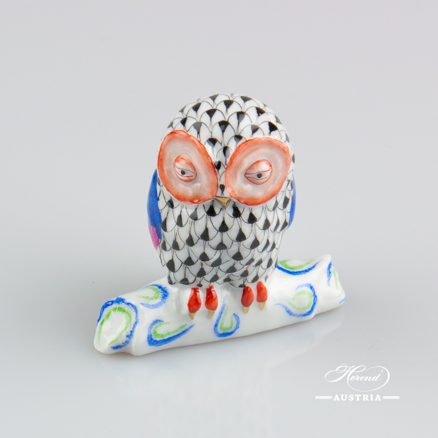 "Owl 15616-0-00 VHN Black Fish scale decor. Herend Fine china animal figurine. Hand painted. Height 6.0 cm (2.5""H)"