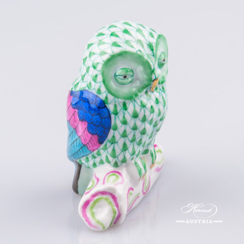 """Owl 15616-0-00 VHV Green Fish scale decor. Herend Fine china animal figurine. Hand painted. Height 6.0 cm (2.5""""H)"""