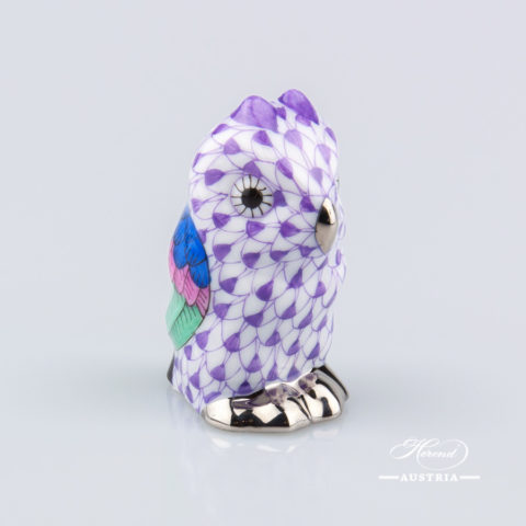 """Owl Baby 5102-0-00 VHL-PT Lilac Fish scale with Platinum decor. Herend Fine china animal figurine. Hand painted. Height 4.6 cm (1.75""""H)"""