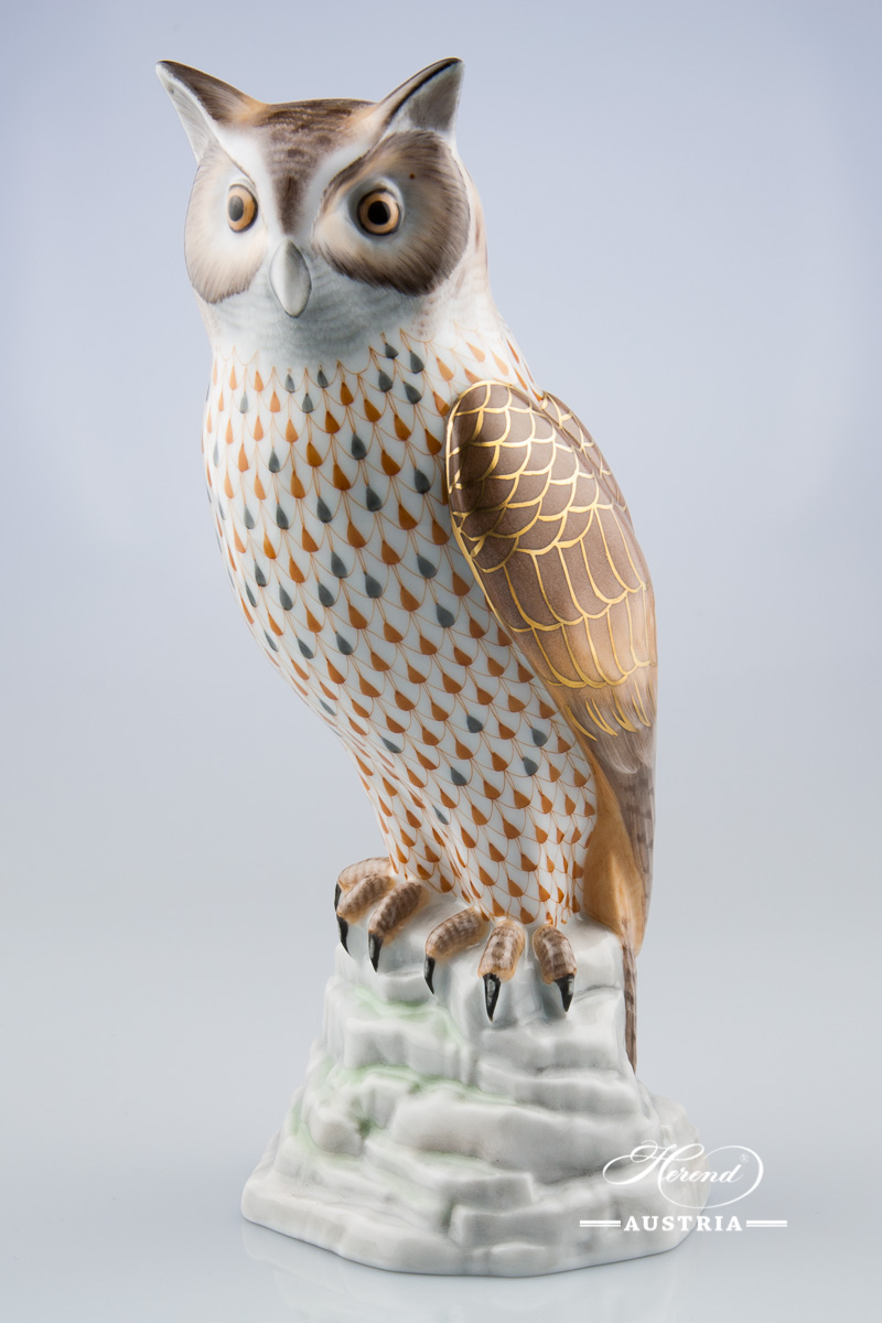 "Owl - Bubo Maximus 15727-0-00 VHSP49 Special Fish scale decor. Herend Fine china animal figurine. Hand painted. Height 24.5 cm (10""H)"