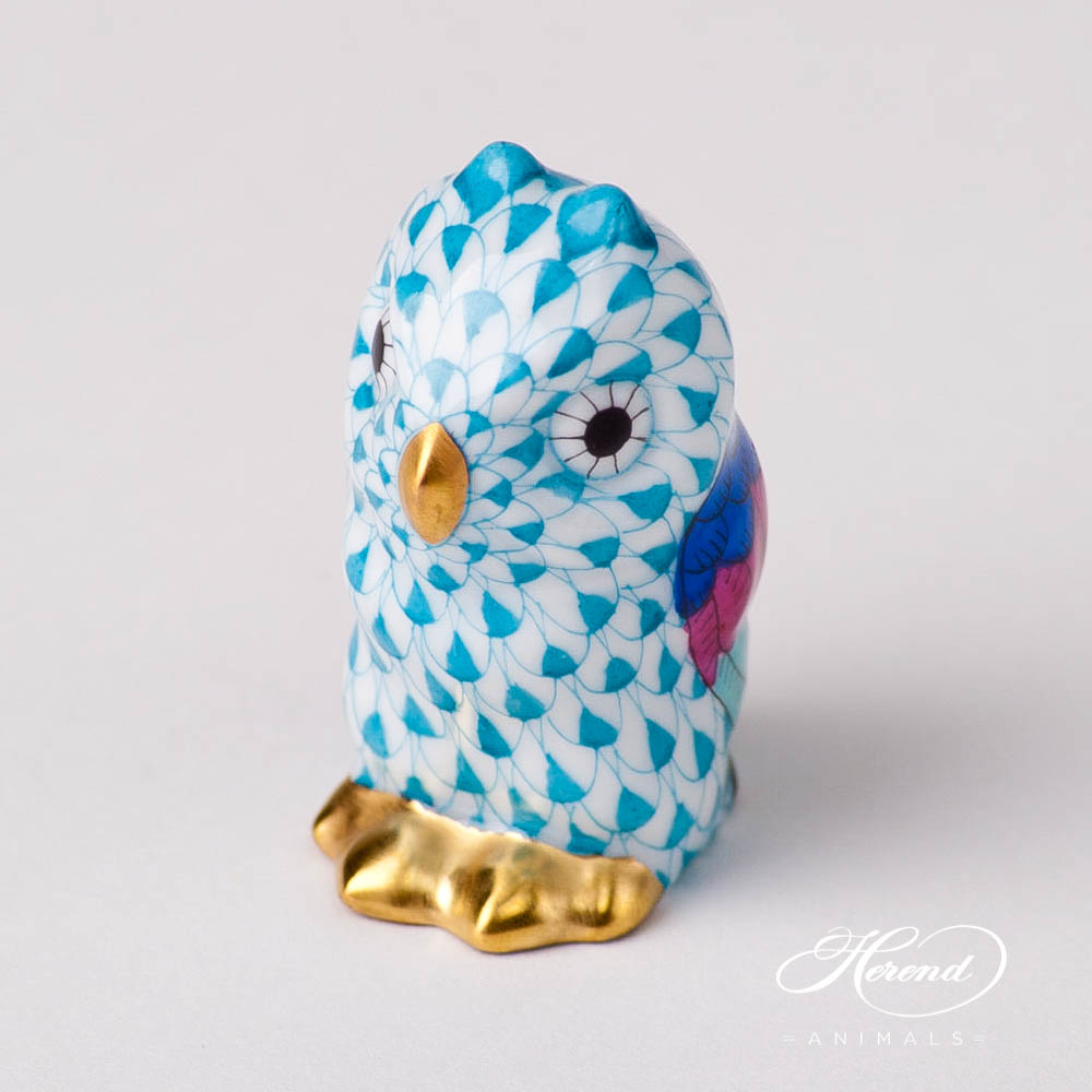 "Owl Baby 5102-0-00 VHTQ Turquoise Fish scale new design. Herend fine china animal figurine. Hand painted. Height 4.6 cm (1.75""H)."