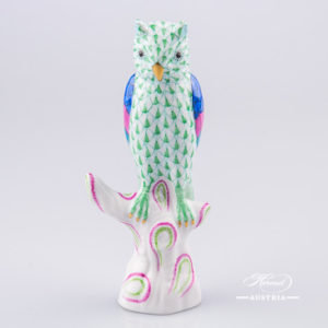 "Owl on Branch 5103-0-00 VHV Green Fish scale decor. Herend Fine china animal figurine. Hand painted. Height 13.0 cm (5.25""H)"