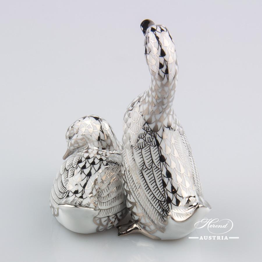 Pair of Ducks 15372-0-00 PTVH Platinum - Herend Animal Figurine