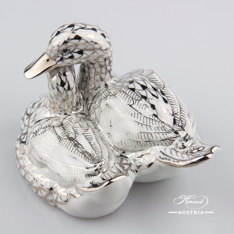 Pair of Ducks 5036-0-00 PTVH Platinum - Herend Animal Figurine