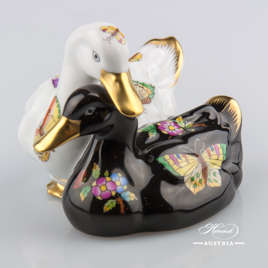 Pair of Ducks 5036-0-00 VBO and VE-FN Black - Herend Animal Figurines