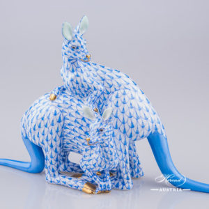 "Pair of Kangaroos 15318-0-00 VHB Blue Fish scale design. Herend fine china animal figurine. Hand painted. Length 20.5 cm (8""L)."