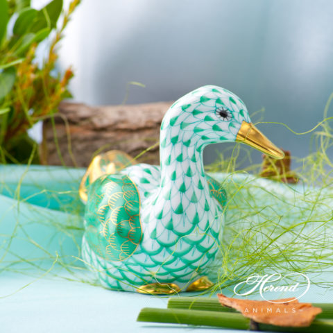 "Duck 15336-0-00 VHVM Green Fish scale decor. The wings of the Duck is Green decorated with Gold. Herend fine china animal figurine. Hand painted. Length: 8.5 cm (3.5""L)"