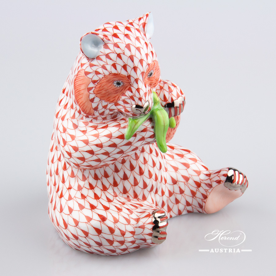 "Panda Bear 15348-0-00 VHR-PT Red fish scale with Platinum decor. Herend Fine china animal figurine. Hand painted. Height 12.6 cm (5""H)"